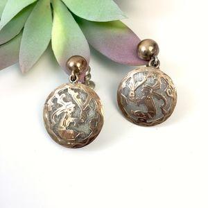 Guatemala Silver Medallion Earrings Tribal Copper